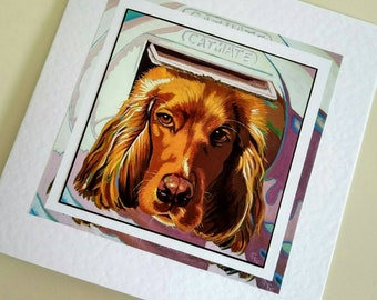 Blank card for dog lover from original painting Keo by Bee Skelton for any occasion birthday gift anniversary thank you