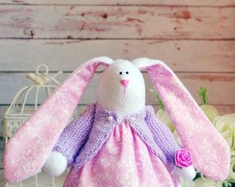 Handmade Bunny Fabric Bunny  Textile Rabbit Interior Bunny Tilda textile Bunny Tilda toys