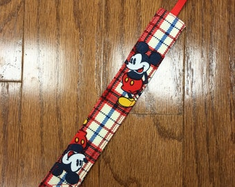 Mickey Plaid Pacifier Clip