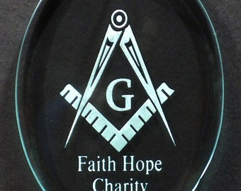 Carved Glass Masonic Temple Ornament