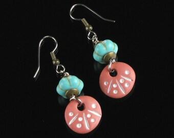 Terracotta Drop Earrings, Ethnic Earrings, Tribal Earrings, African Earrings, Rustic Earrings, Unique Turquoise Boho Earrings Gift, Women