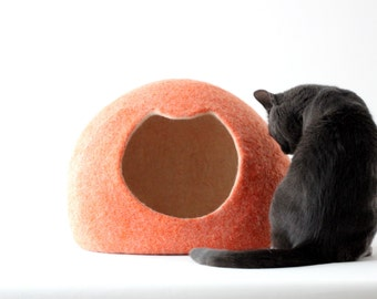 Orange cat bed - felted cat cave - wool cat house - handmade cat bed - made to order - unique gift - gift for pets - felted cat cave