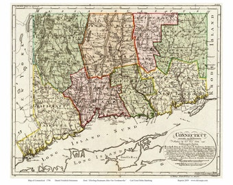 Connecticut 1796 Map   - by Sotzmann   Reprint