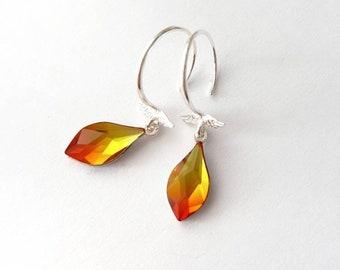 Small Hoop Earrings, Sterling Silver Crystal Teadrop Earrings, Fire Opal Orange, Angel Wings, Romantic Dainty Hook Earrings, Swarovski