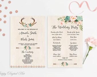 Boho Wedding Program Printable Floral Wedding Program Template Mint Blush Wedding Program Program Mint Order of Ceremony Wedding Ceremony