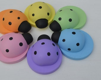 Counting Lady Bugs Wooden Pastel Rainbow Sensory Toy (Bowls and Discs Not Included)