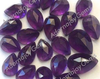 Amethyst 8x5mm Gemstone Cabochon Pear Rose Cut FOR ONE