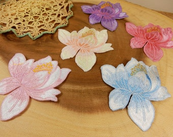 Flower Appliques, Lotus Flower Sewing Appliques, Floral Fabric Embroidered Motifs, Sew On Flowers, Floral Decor