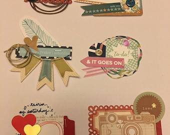 Set of 6 handmade embellishments