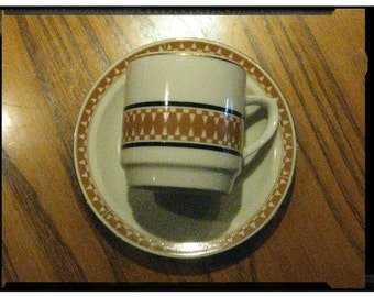 VINTAGE 1960s Retro Art Deco Demitasse Espresso Coffee Cup Matching Saucer Gold Gilt Trim w/Tan Black Geometric Pattern Off-White Porcelain