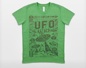 UFO Attack T-Shirt - Boys - Ages 6-8, 10-12, 14-16
