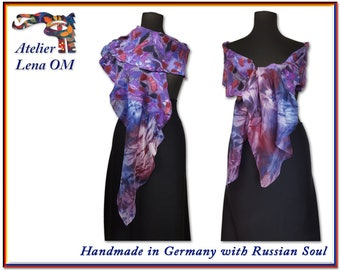 Purple, lilac long scarf, handmade and unique big nuno felt silk wool scarf with silk hand dyed edges, original look, attractive design