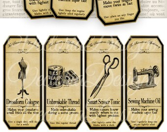 Seamstress Apothecary Bottle Labels Tags Craft room organizer instant download digital collage sheet VD0355