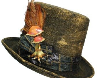 Large Felt Top Hat Woodland Mushrooms Steampunk Traveler Mens Cosplay Gold