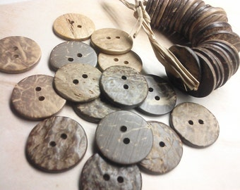 SUPPLY, Shell Buttons, Coconut Buttons - Natural Buttons - 20mm, 30 Pieces