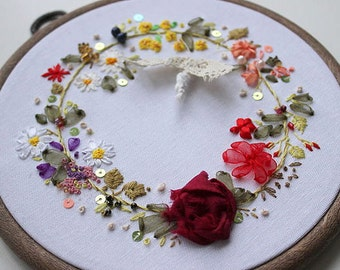 gift for family, english country garden, silk ribbon embroidery, hand embroidered gift, springtime embroidery, gift with flowers,