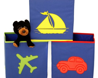Boys Cube Storage Bins Toy Organizers Car Airplane Boat Design