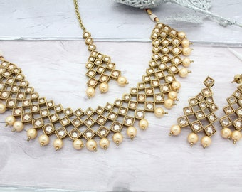 Antique Gold Indian Bollywood Necklace Set with Earrings, Tikka Headpiece & Jhoomer Bridal Wedding