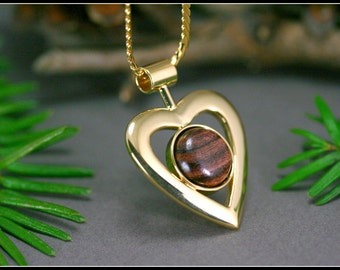 Gold heart pendant with brown wood, Heart pendant necklace, Statement pendant, Romantic heart, Big gold heart, 5th anniversary gifts
