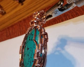 Green Quartzite Thick Copper pendant