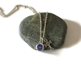 Celtic cross with Birthstone Necklace, Silver Cross with Chain, Christian Necklace, Swarovski Birthstone Charm