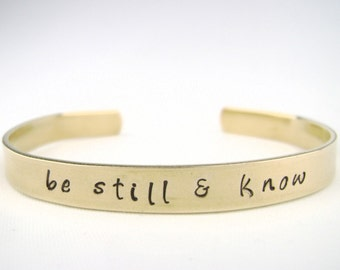 Be Still & Know Gold Bracelet, Psalm 46:5 Brass Bible Verse Bracelet, Scripture jewelry, Christian bracelet cuff, religious jewelry