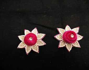 Beautiful Handmade patch/Applique decorative Indian Lotas Floral White Beaded patches Christmas Appliques,