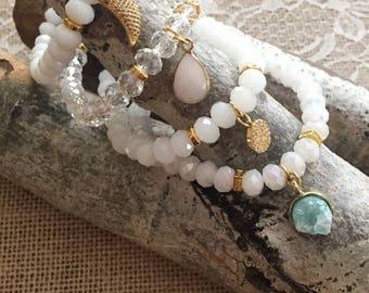 Boho Chic Beaded Charm Bracelet