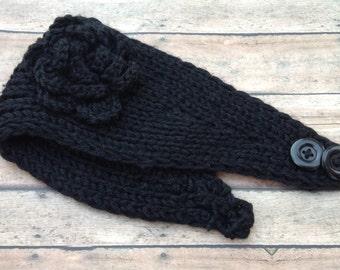 Crochet Ear Warmers - Knit Headband - Black Crochet Headband - Crochet Headband - Crochet Ear Warmer Headband - Crochet Fall Accessory