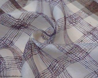 "Sheer Silk Textured Organza Fabric - Purple Windowpane - by the yard - Pure Silk - 45"" Wide - EP Silk #169"