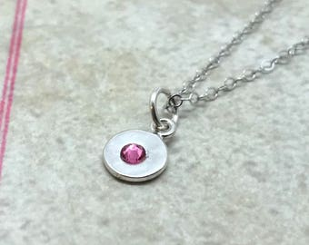 Mini Birthstone Necklace, Sterling Silver, Swarovski Crystal, October Birthstone, All Colors Available, Pink Crystal Necklace, Rose Pink