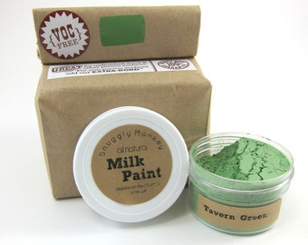 Green Milk Paint - Non-toxic All Natural Paint Perfect for Unfinished Wood Projects- Tavern Green