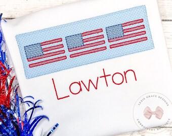 Patriotic American Flag Applique Shirt or Bodysuit