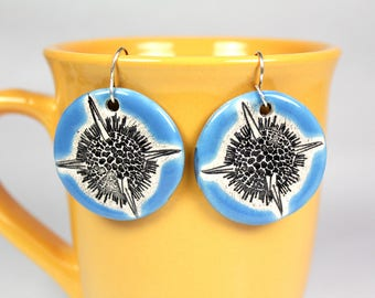 Radiolaria Earrings in Light Blue
