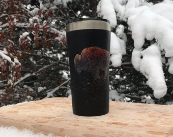Hand Painted, Stainless Steel, Bison Travel Mug, Tumbler