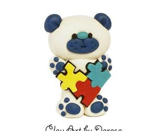 Autism Aware Bear - polymer clay figurine - Autism Awareness