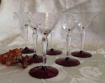 Set of 6 Etched flower Wine crystal Glasses with cranberry base - Etched Flower Wine Glasses - Etched Cordial Glasses- Wedding glasses