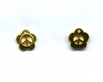 Charm - pendant 12 mm peace and love gold 18kt