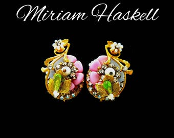1940s Rhinestone Earrings, Haskell Style, Blue Pink White & Green Glass Beads, Multi Color Ear Climbers, Gift For Collector, Gift for Her