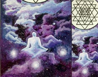 Man meditative sriyantra painting panel 70x40 cm