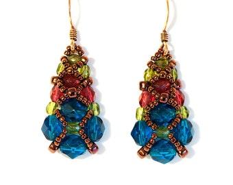 Seed Bead Earrings in Dark Aqua, Pomegranate, Olive Green, Dark Copper Seed Beads - Beaded Earrings - Beadweaving - Beadwoven Earrings