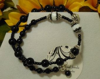 Black White Cuff Wrap Bracelet Czech Crystal Wrap Bracelet Handmade OOAK