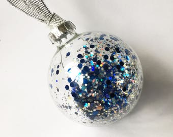 Blue Silver Glitter Filled Glass Christmas Bauble 6cm