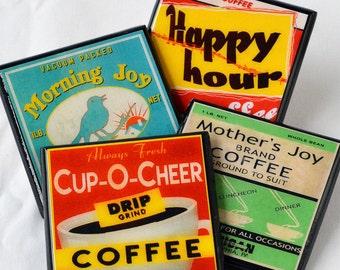 Coffee Lovers Coaster Set, Coffee Label Wood Coasters, Coffee Gift, Drink Coasters, Retro Kitchen, Kitchen Decor, Coffee Decor, Hostess Gift