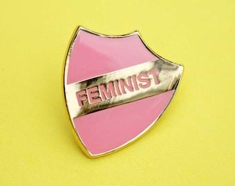 Pink & gold 'FEMINIST' enamel pin - girl power - feminism - women's rights - shield pin - merit badge - pin badge - flair - lapel pin