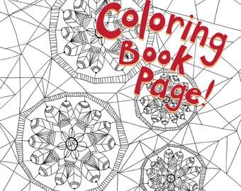 Coloring Book Page, Printable Download: Dreamcatcher, hand-drawn, mandala, zentagle, adult coloring, coloring book printable
