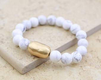 Howlite Bracelet, White Howlite Stone Bracelet, Howlite Elastic Bracelet,Birthday Gift -6009