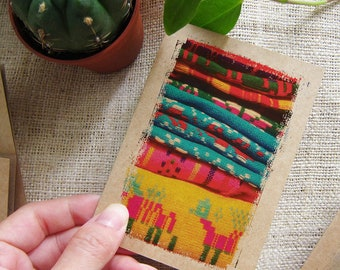 Colorful Small Gift Notebook Mexican Rainbow Motif - Aztec Pocket Traveler Journal