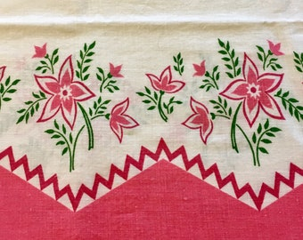 Vintage Full Flour Sack Feedsack Fabric  Pink Floral Border Pillowcase 1930's 1940's 1950's Quilt Patchwork