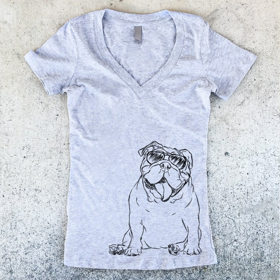 Too Cool English Bulldog Women's V- Neck T-shirt - 3 Color Options - Dog Owner Gift, Dog Lover, English Shirt, English Bulldog Shirt